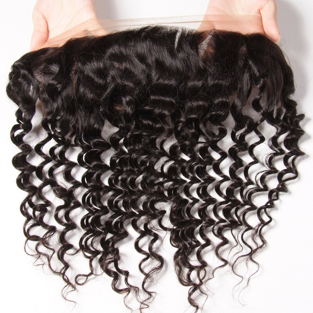 Ali Julia Hair Brazilian Virgin Deep Curly Wave Hair Bundles with Frontal Lace Closure 100% Unprocessed Human Hair Weave Extensions Natural Color (22 24 26+20 inch, Frontal with Bundles) by Yilian (Image #4)