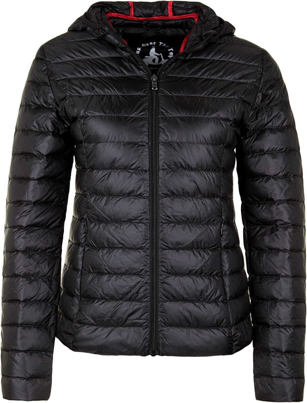 Jott Chloe - Chaqueta de plumón para mujer, la chaqueta es plegable y se puede guardar en una bolsa negro L