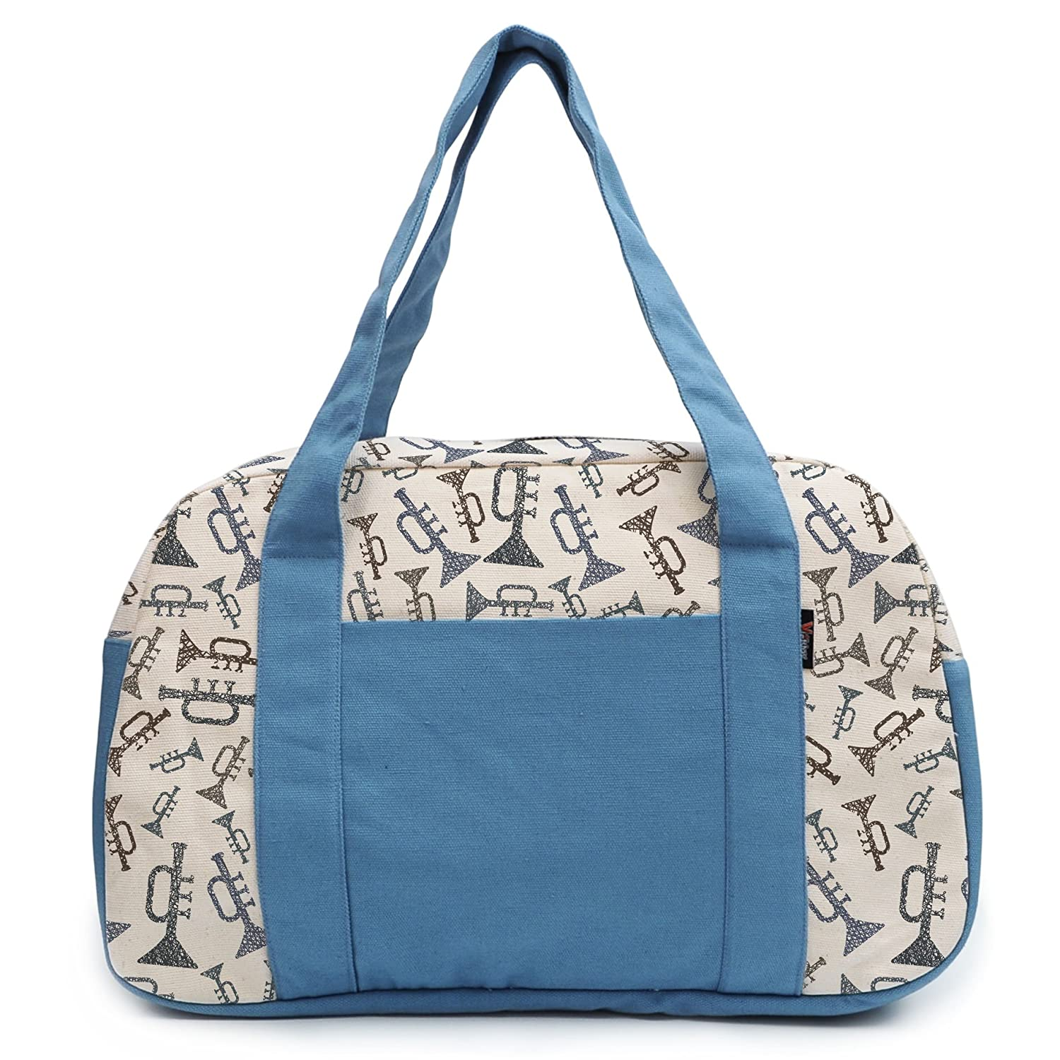 Womens Music Instrument Printed Canvas Duffel Travel Bags WAS/_19