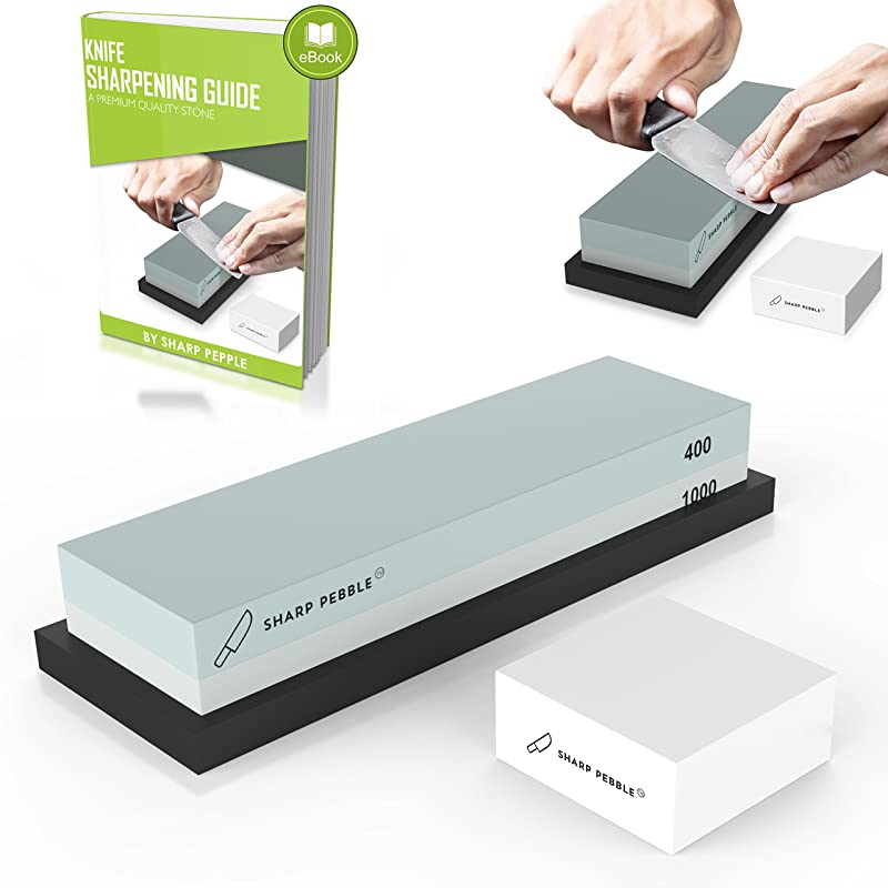 Premium Whetstone Sharpening Stone 2 Side Grit 400/1000 | Knife Sharpener Waterstone with NonSlip Rubber Base & Flattening Stone