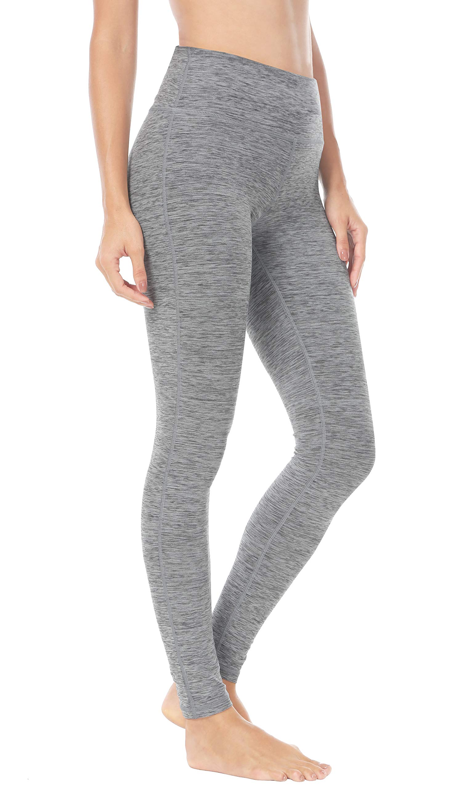 Queenie Ke Women High Waist Hidden Pockets Sport Legging Yoga Pants Running Tights Size L Color Space Dye Grey2
