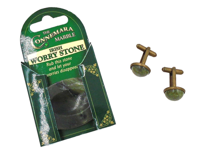 Set of Two: Beautiful IRISH Connemara Marble Worry Stone AND Cufflinks…