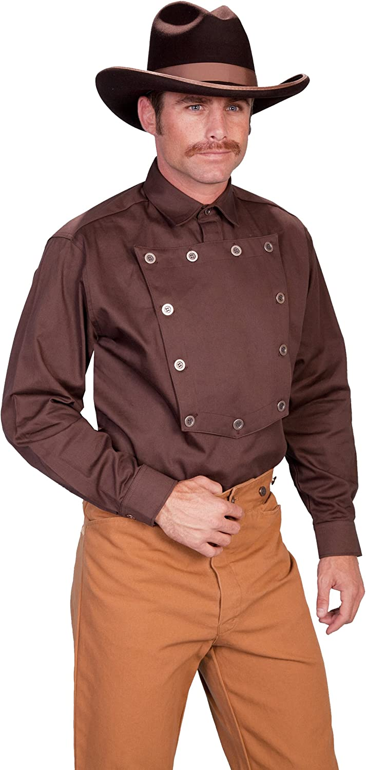 Brown Scully Cotton Button Placket Pullover Bib Shirt