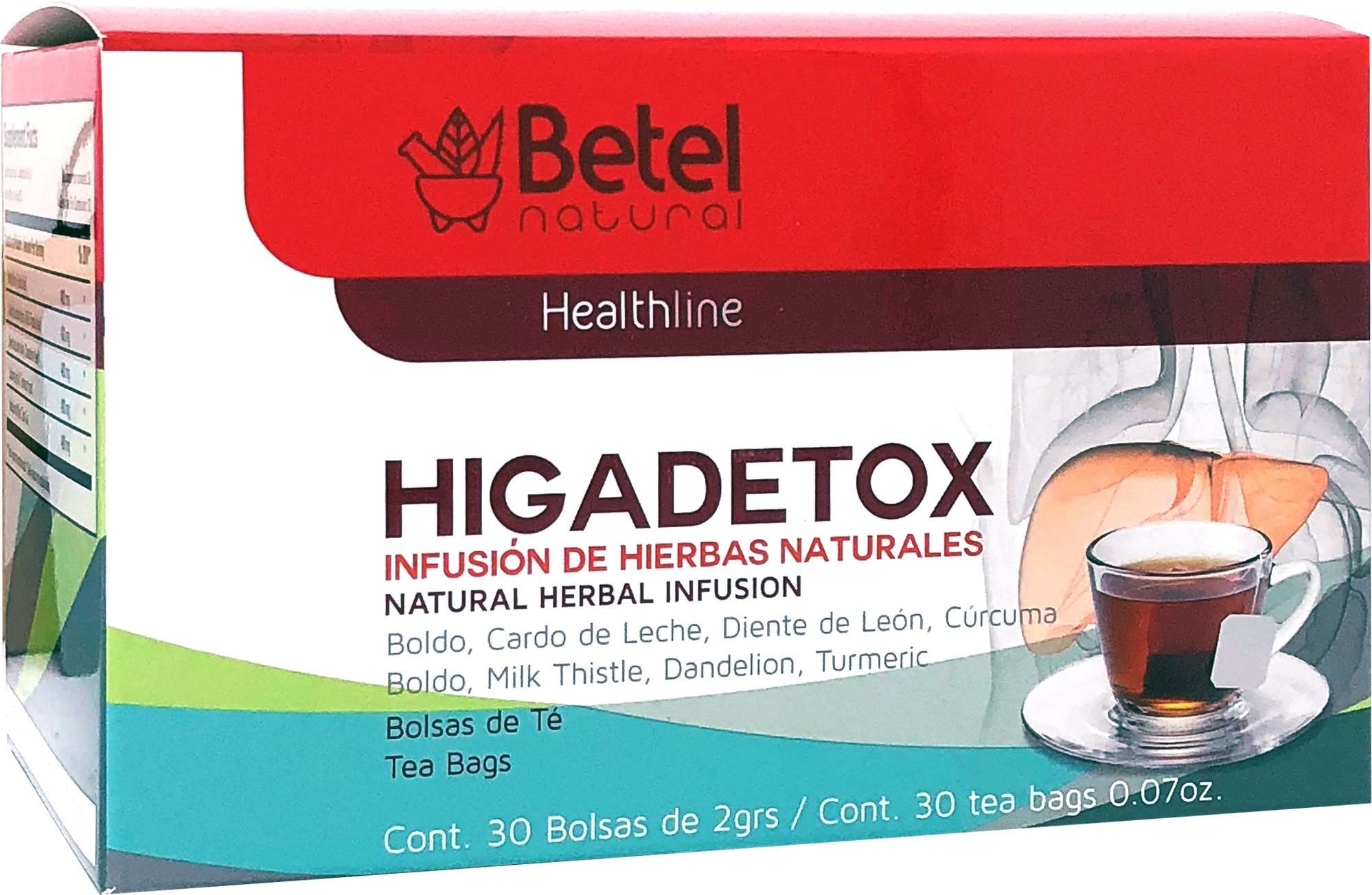 Higadetox Tea by Betel Natural - Healthy Liver Detox - 30 Tea Bags
