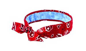 Ergodyne Chill-Its 6700CT Evaporative Cooling Bandana - Tie Closure, Red Western