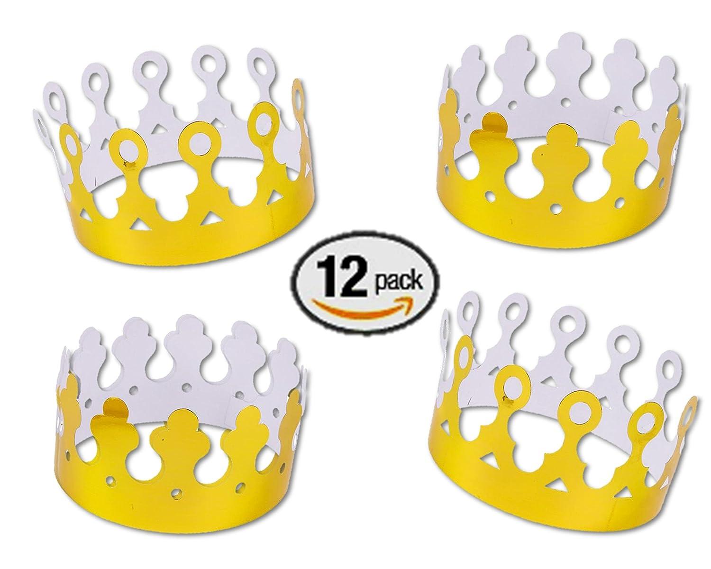Amazon.com: Gold Foil King Crowns Paper (Dozen): Toys & Games