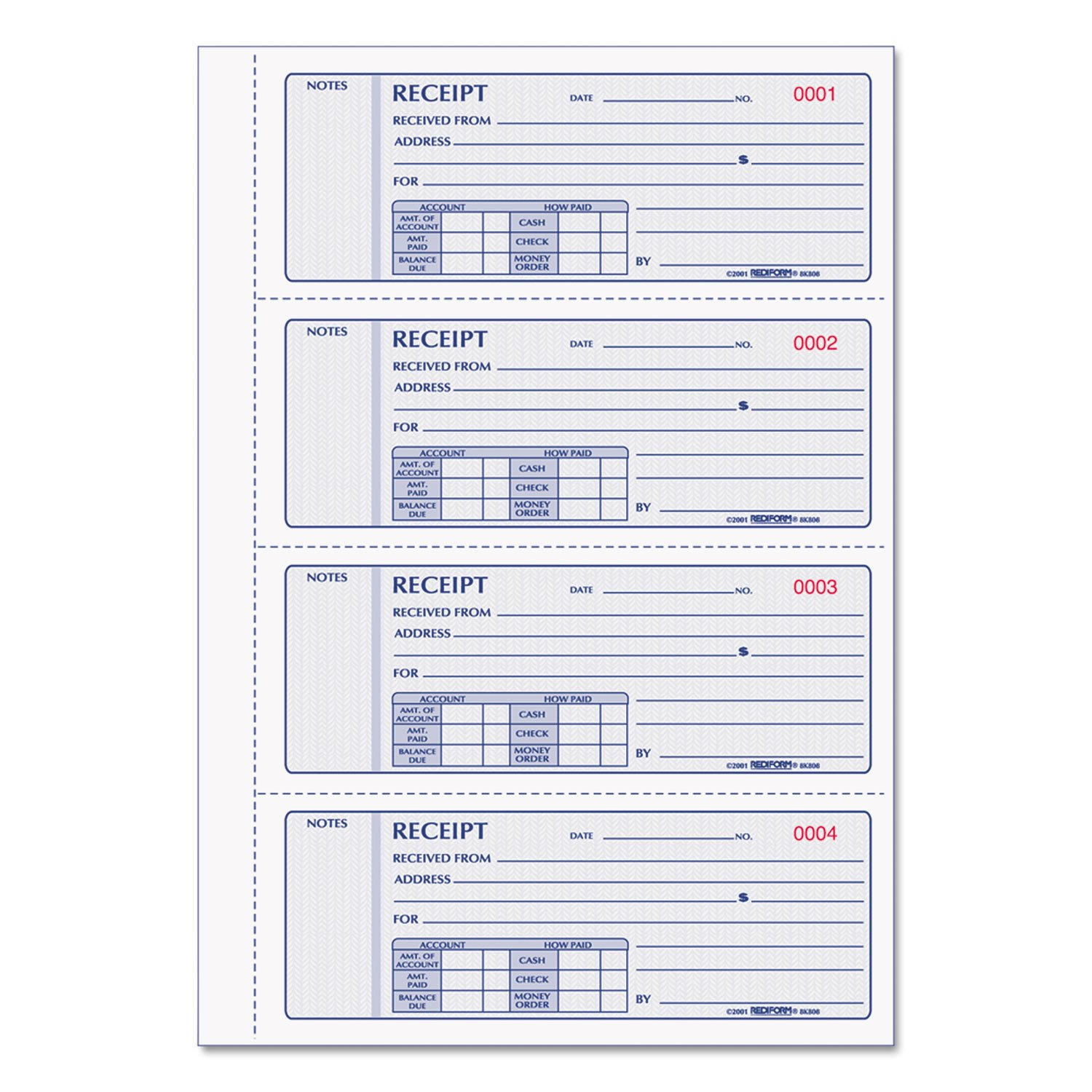 REDIFORM Money Receipt Books with Carbons, Triplicate, 4 Forms per Page, 200 Sets per Book (8K808)