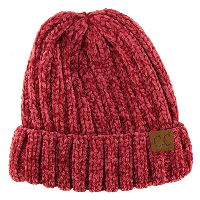 7099116f9a350 Winter Soft Chenille Chunky Knit Stretchy Warm Ribbed Beanie Hat Cap Hot  Pink