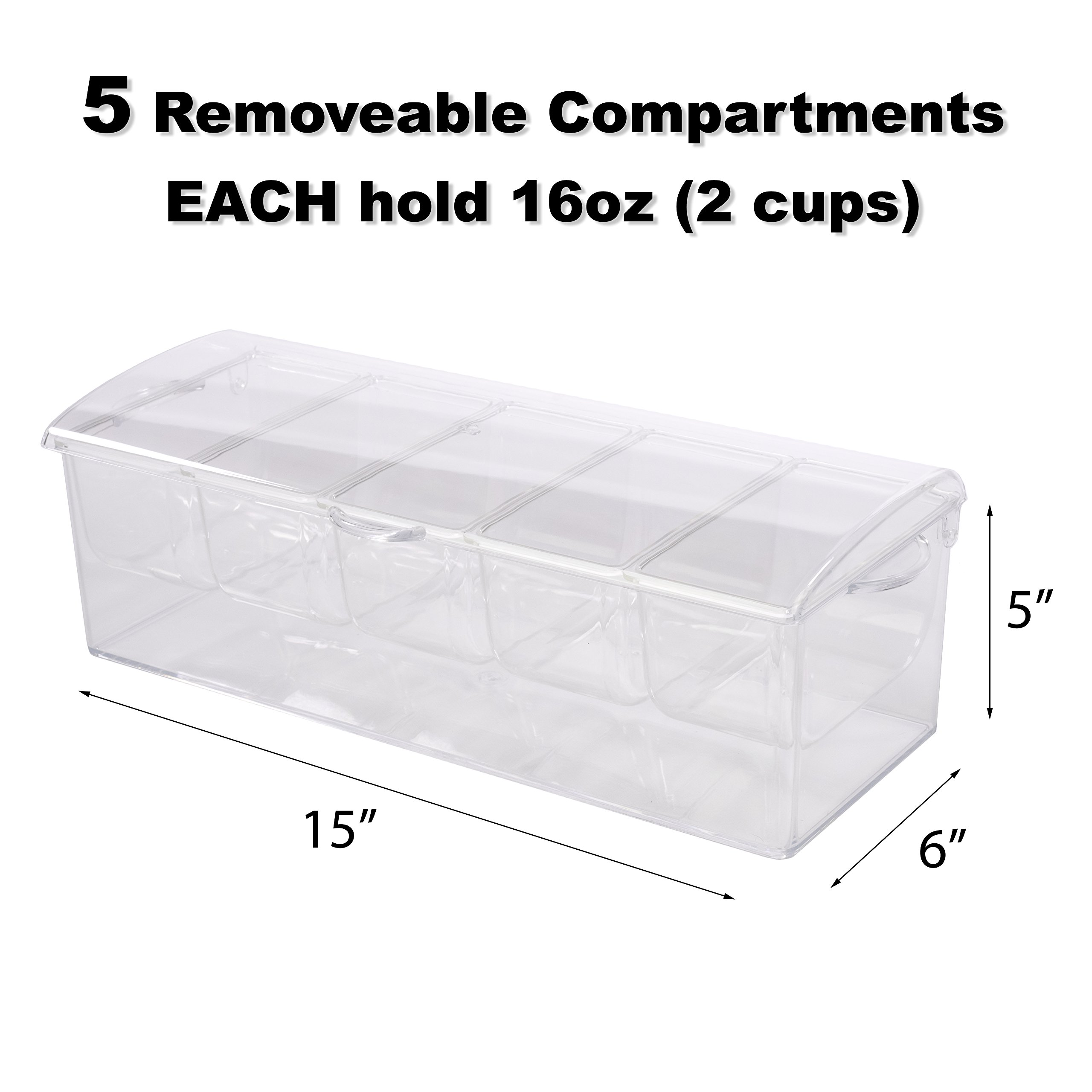 Adorn Home Ice Chilled Large Condiment Server | 5 Compartment on Ice Caddy | 5 Removable Dishes with over 2 Cup Capacity Each with Hinged Lid | Crystal Clear Plasic by Adorn Home Essentials (Image #6)