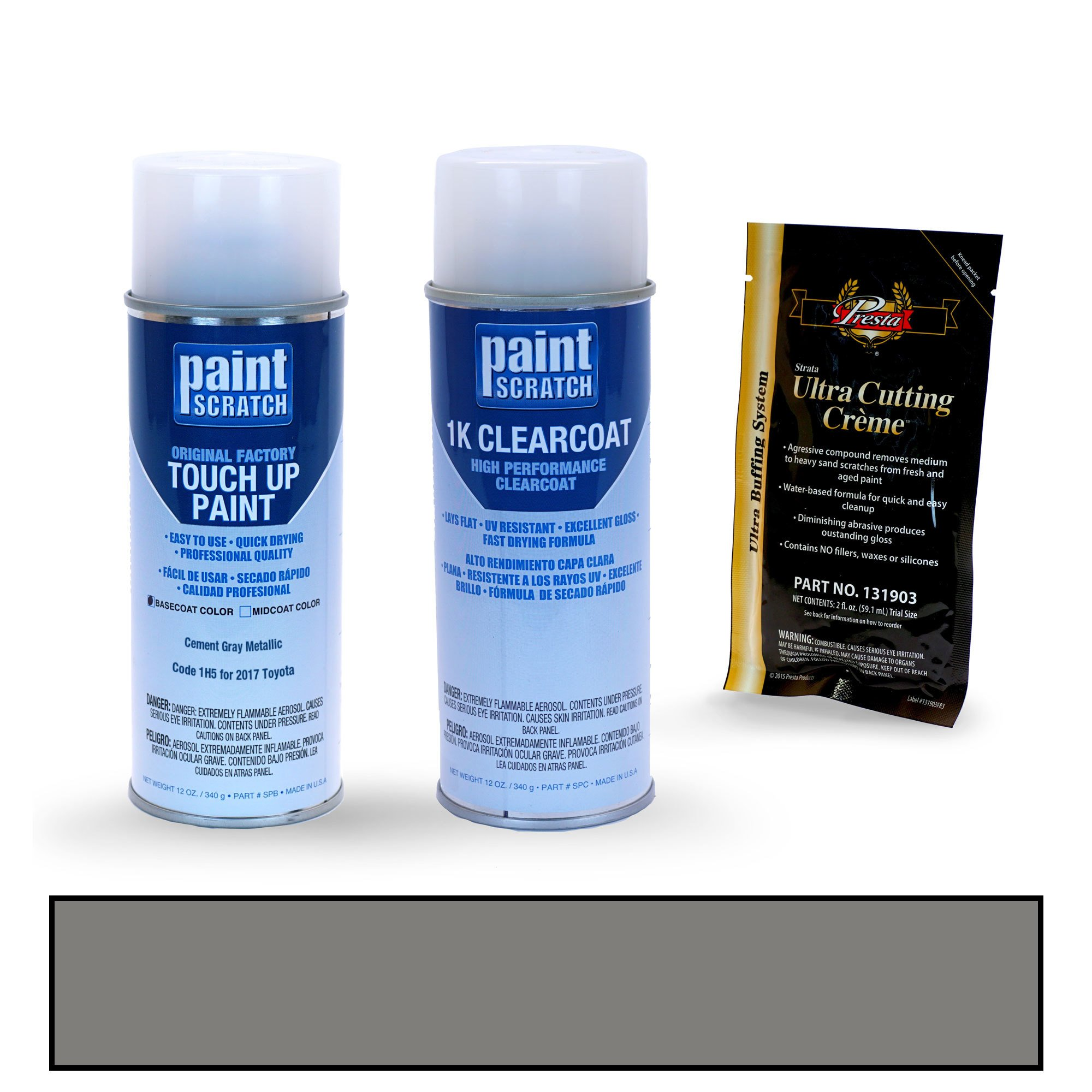 PAINTSCRATCH Cement Gray Metallic 1H5 for 2017 Toyota Tundra - Touch Up Paint Spray Can Kit - Original Factory OEM Automotive Paint - Color Match Guaranteed