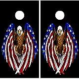 Buckeye Nation Sales Cornhole Wraps Vinyl Decals Stickers Game Board Wrap Set ~ American USA Bald Eagle
