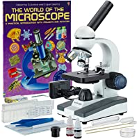 AmScope M150C-SP14-WM 40X-1000X Portable Student Microscope with Slide Preparation Kit and Book