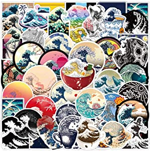 50 Pcs Ocean Wave Stickers Sea Wave Decals for Water Bottle Hydro Flask Laptop Luggage Car Bike Bicycle Helmet Vinyl Waterproof Ocean Wave Stickers Pack