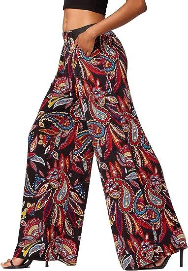 Ladies Fancy Full Length Wide Leg Palazzo Pants Womens Night Wear Flared Trouser