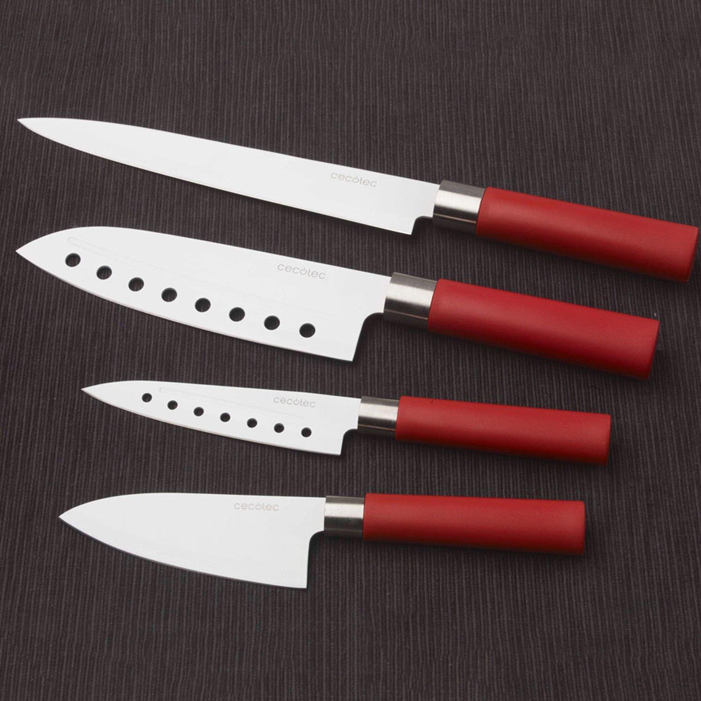 Cecotec Juego de 4 Cuchillos Profesionales de Estilo japonés para Uso doméstico. Recubrimiento cerámico. Set de Cuchillos Santoku (Rojo)