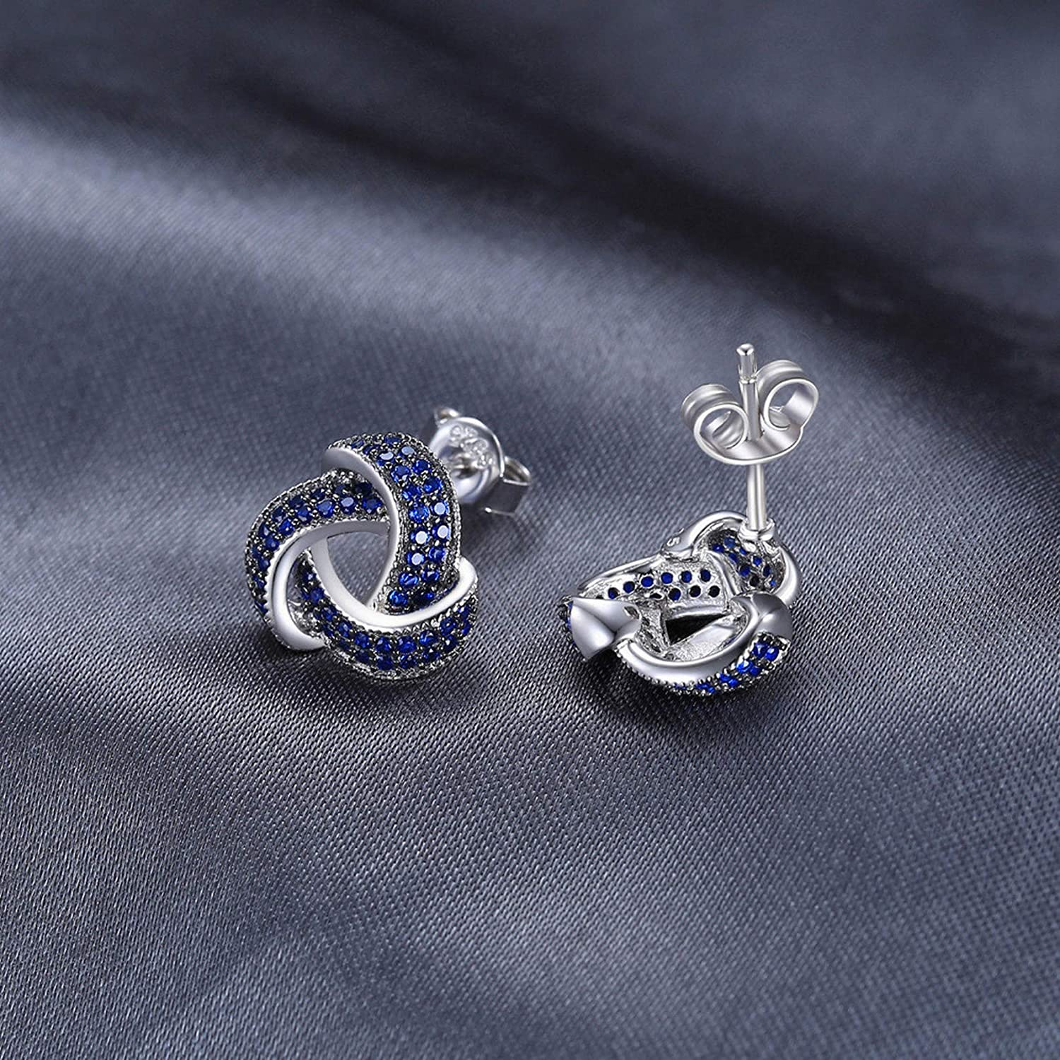 CS-DB Silver Created Blue Spinel Flower Wraparound Cluster Stud Charm Earrings