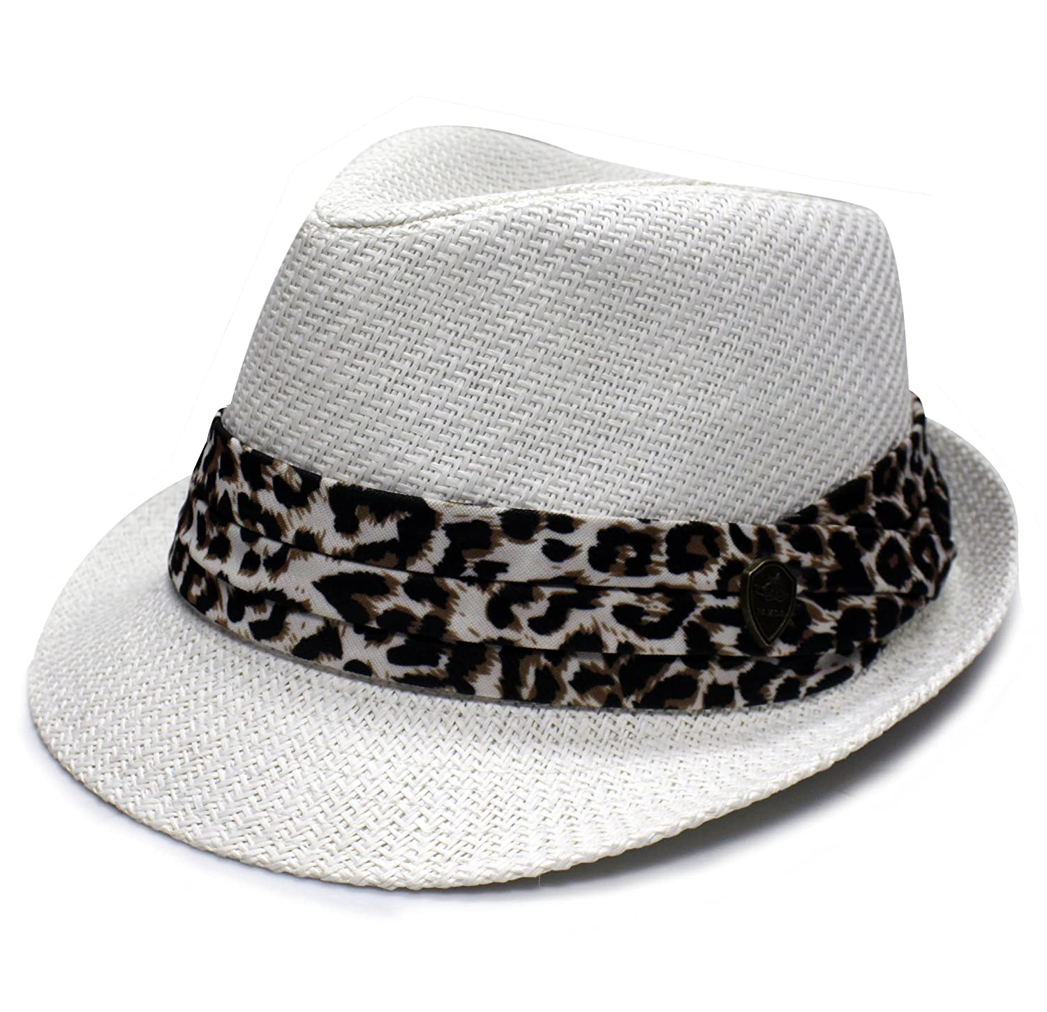 City Hunter Unisex Pms380 Leopard Summer Straw Fedora Hat - 3 Colors