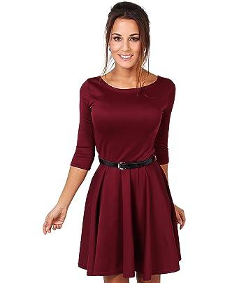 36382cbfbe91 KRISP® Women Tailored Skater Dress 3/4 Sleeve Pleated Belted Swing Spring  Dress Black: Amazon.co.uk: Clothing