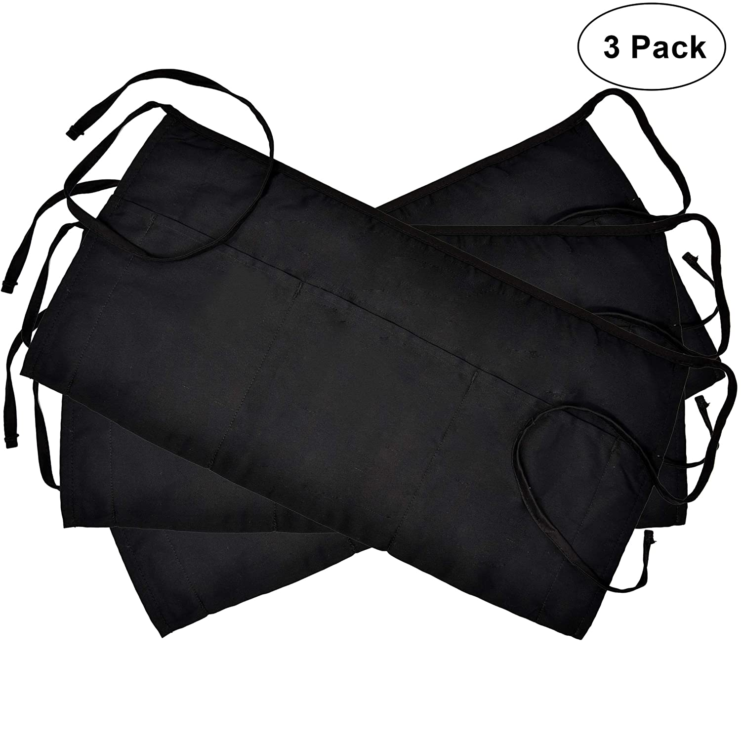 3 Pockets Cotton Waist Apron 3 Pack 24 x 12 inch Kitchen Restaurant Bistro Craft Garden Half Short Aprons For Men, Women, Chef, Baker, Servers, Waitress, Waiter, Craftsmen Work Apron Uniform, Black Perlli RCBP