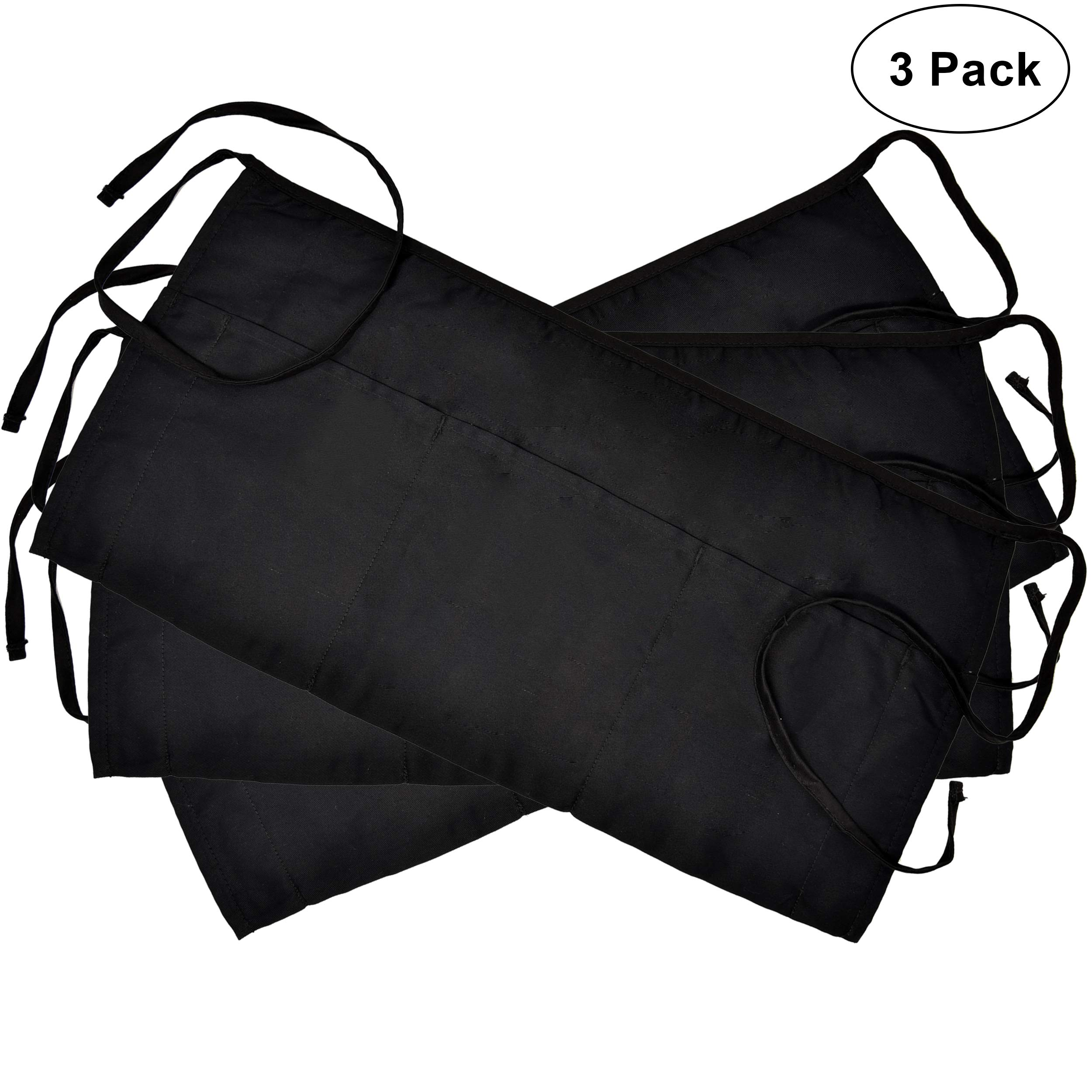 3 Pockets Cotton Waist Apron 3 Pack 24 x 12 inch Kitchen Restaurant Bistro Craft Garden Half Short Aprons For Men, Women, Chef, Baker, Servers, Waitress, Waiter, Craftsmen Work Apron Uniform, Black
