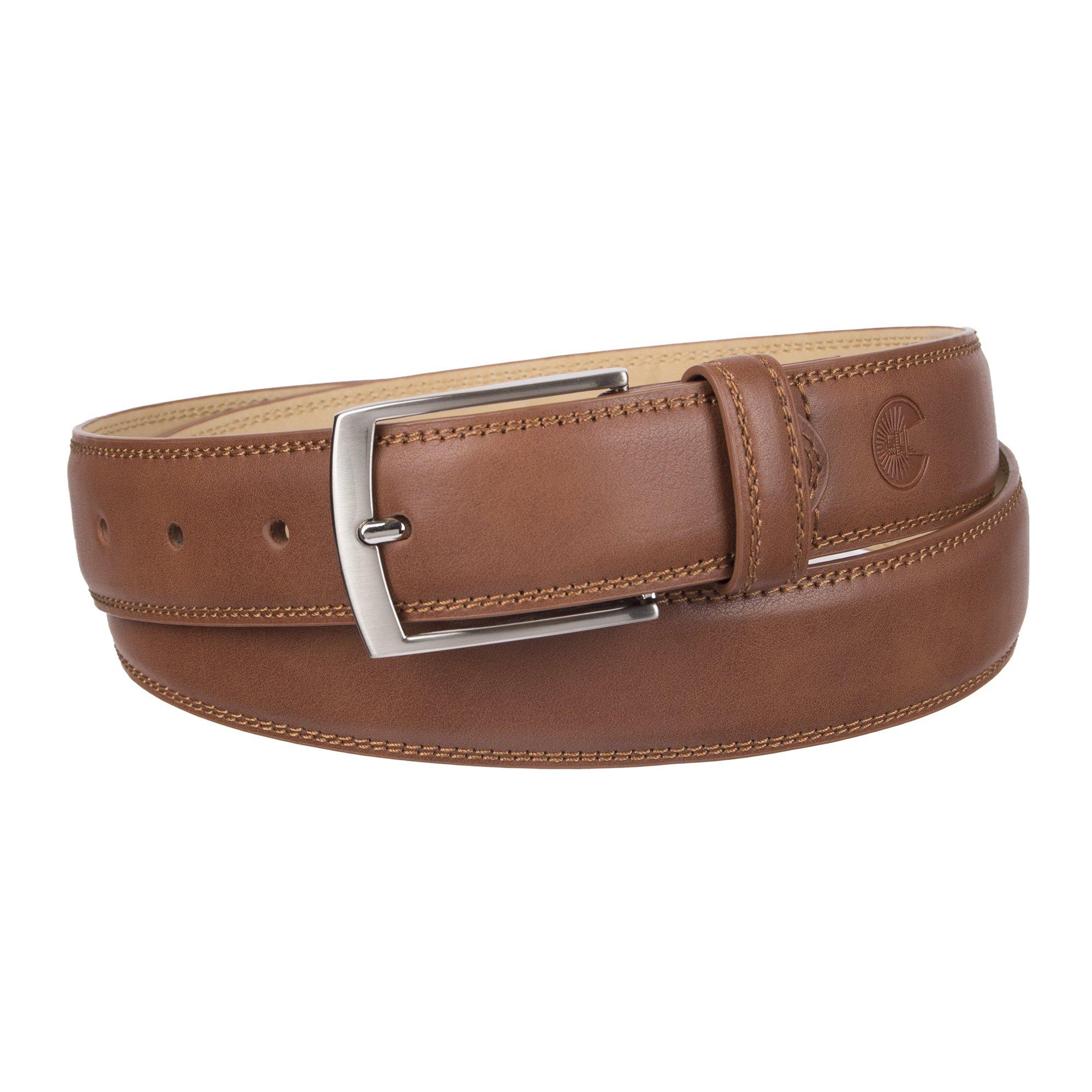 Weatherproof Men's Belt with Single Prong Buckle, Cognac/Silver Buckle, 38