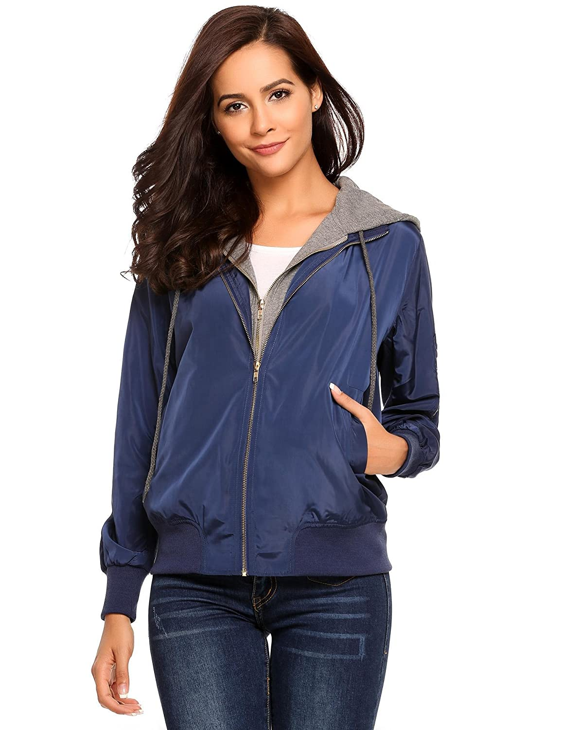 8f00028ac1910 Goodfans Womens Relaxed Fit Zip Up Hoodie Bomber Jacket Double Zipper Hooded  Coat