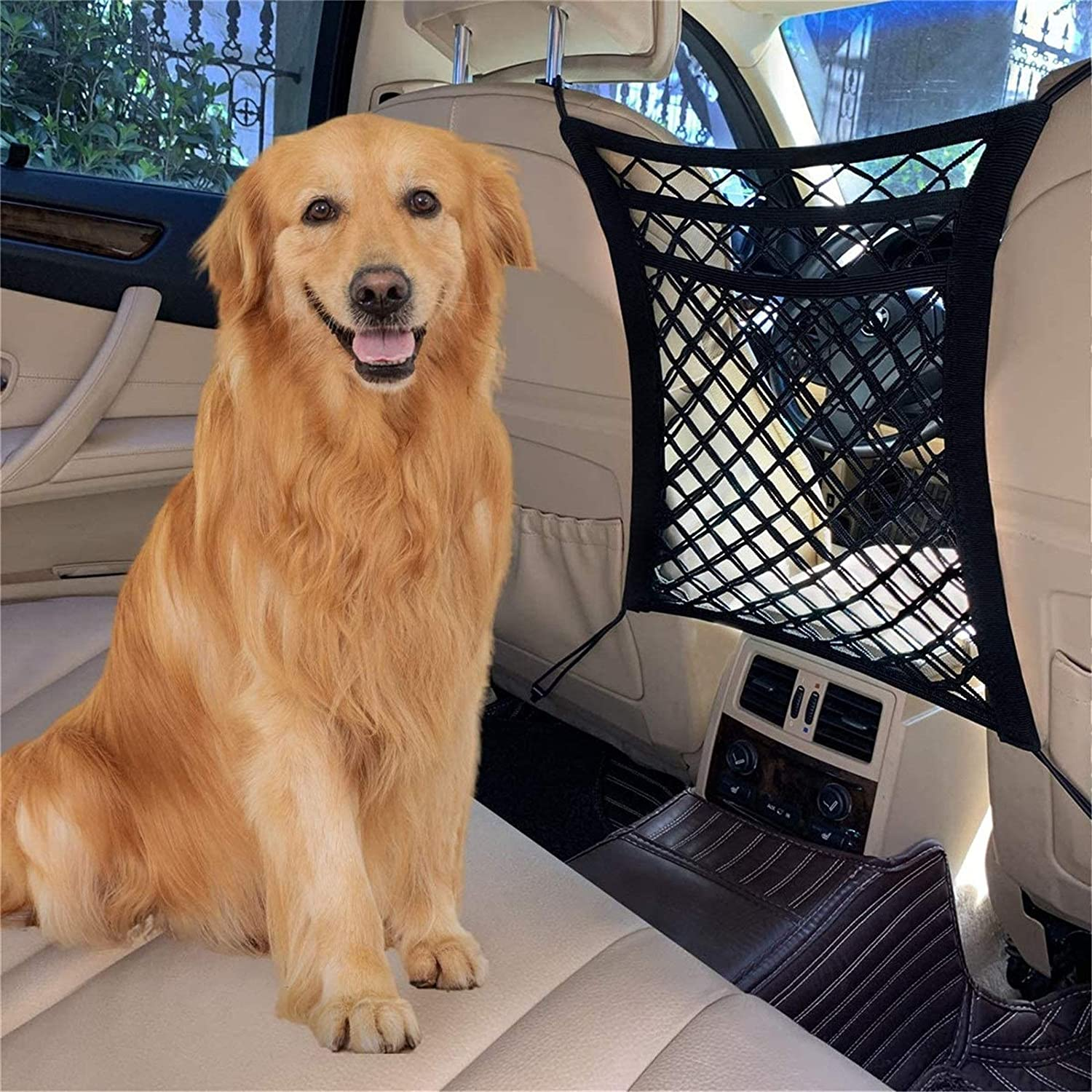 FCILY Car Dog Barrier, Pet Barrier Dog Net for Car Between Seats, 3 Layers Back Seat Net Organizer, Backseat Mesh Bag for Cars, SUVs, Trucks, Drive Safely with Children & Pets : Pet Supplies