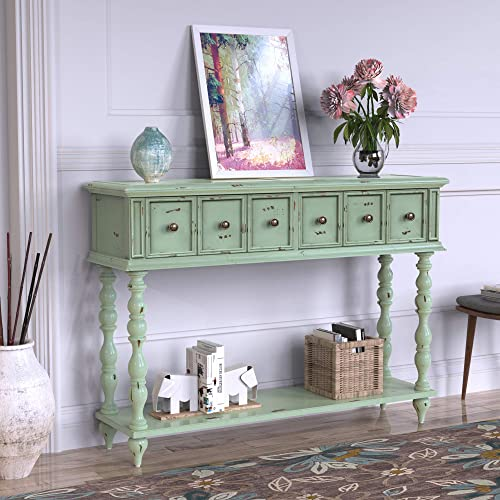G-house Rustic Console Sofa Table Antique-Inspired Design with Two Exquisite Drawers and Bottom Shelf for Living Room Light Mint Green