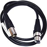 MA XLR Male To Female 3 pin Microphone Mic extension Balanced Audio Guitar Amplifier Mixer Cable (M - F) - Black Color (5 M)