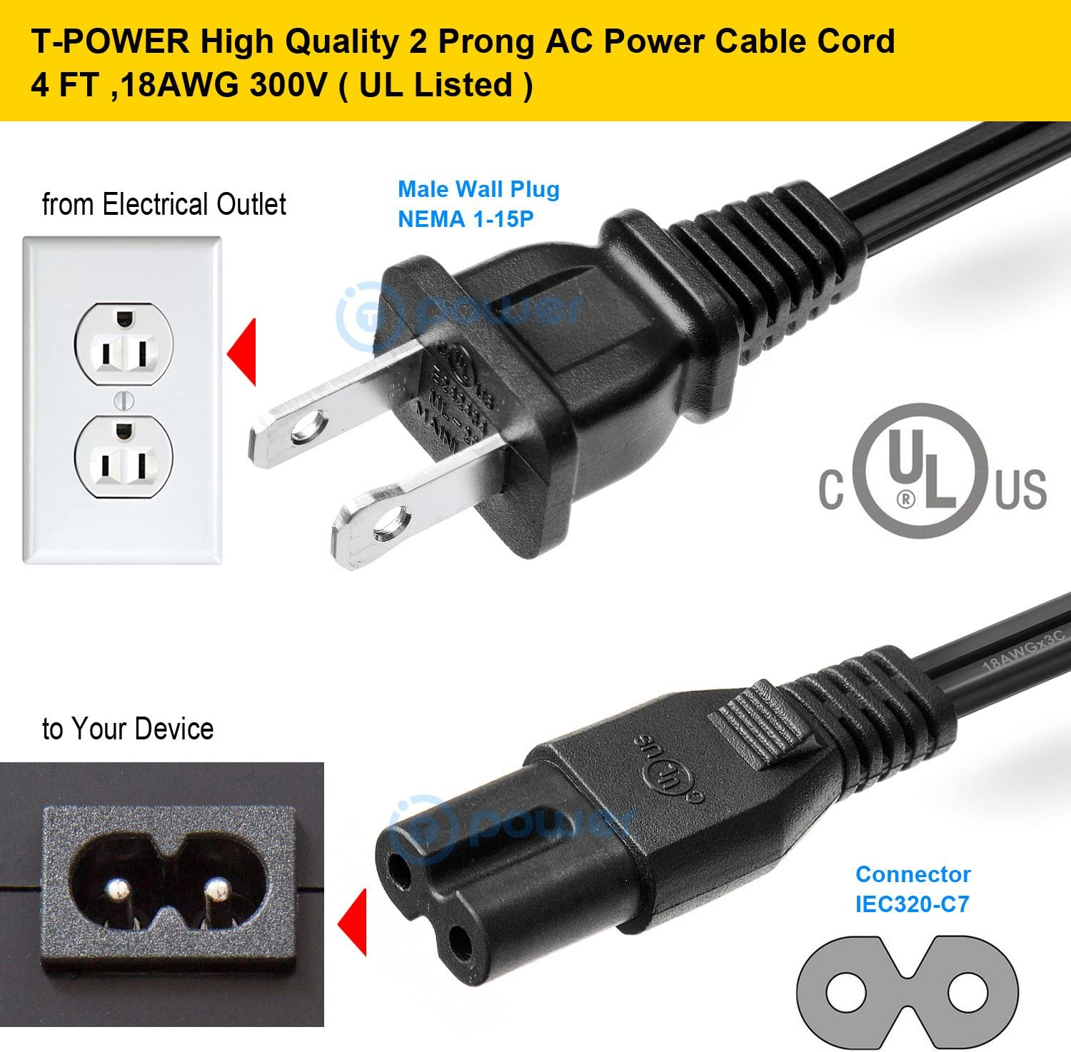 OMNIHIL 15 Feet Long AC Power Cord Compatible with VANKYO Leisure 410 UL Listed