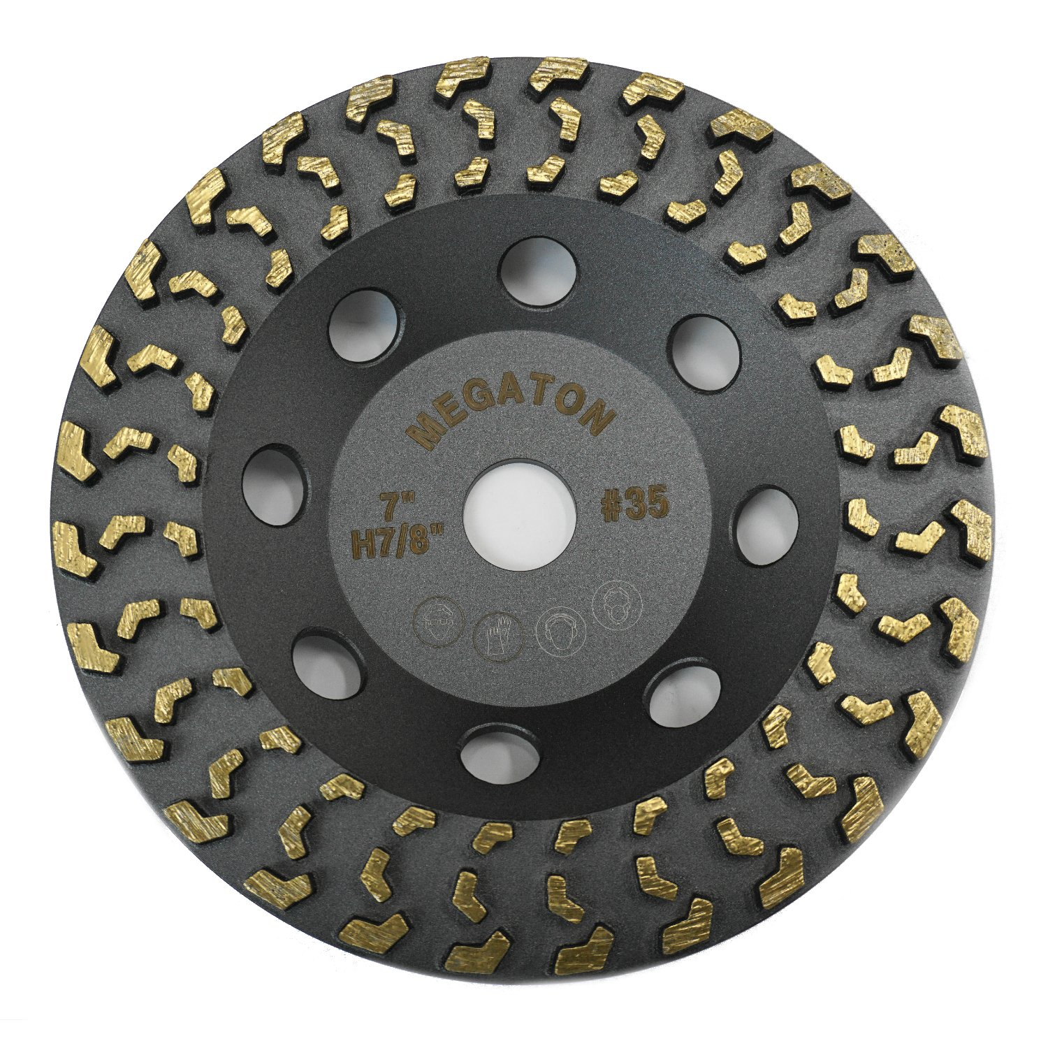 Megatron 7'' Diamond Cup Grinding Removing Disc Wheel for Any Concrete, Paint, Epoxy, Glue and Mastic with CDB Newest Technology (Megatron 7'')