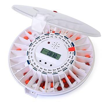 Dispensador de pastillas automático de Ivation, Recordatorio de medicación electrónico con nueva cerradura, una alarma más sonora y luz parpadeante - ...