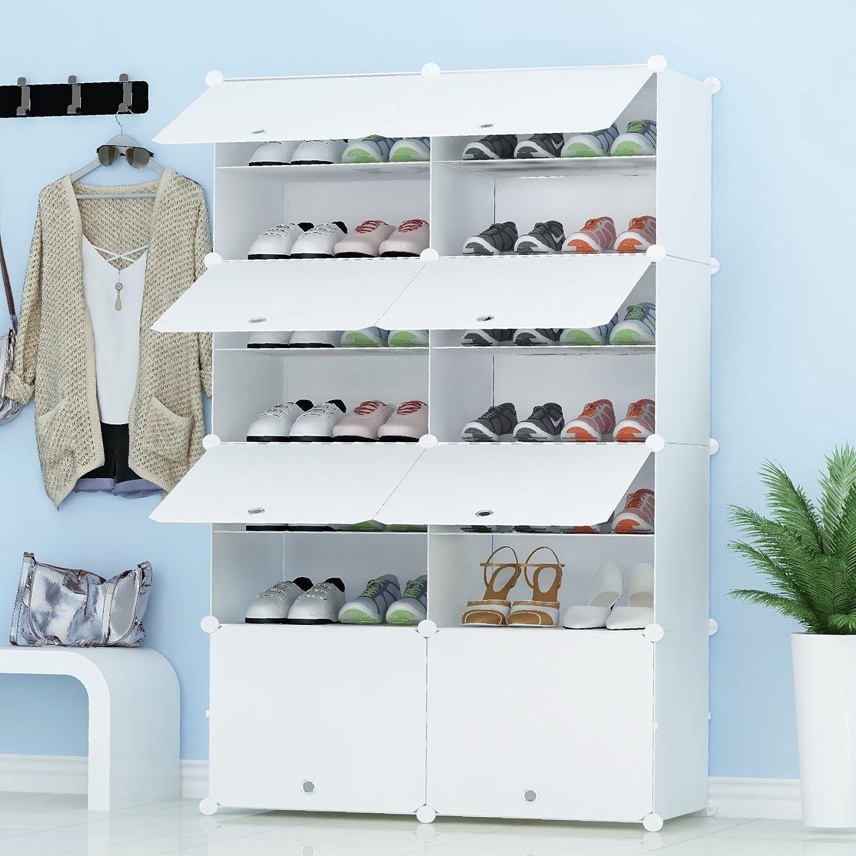PREMAG Organisateur de Rangement pour Chaussures Portable, Blanc, étagère modulaire pour Gagner...