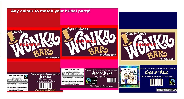 100 Personalised Retro WONKA Bar wedding favours / invites: Amazon ...