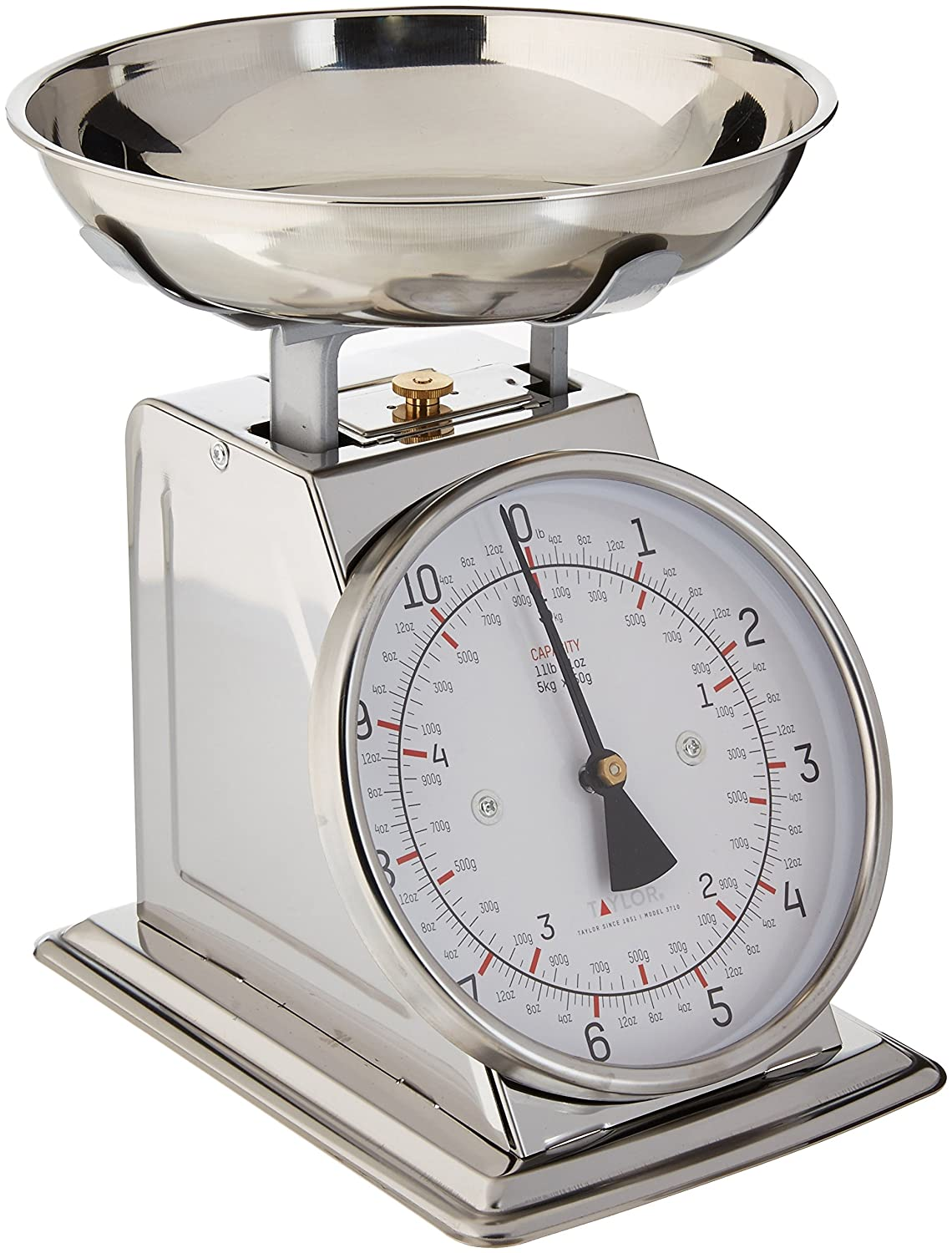 Taylor Stainless Steel Analog Kitchen Scale, 11 Lb. Capacity Taylor Thermometers 3710-21