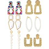 6 Pairs Rhinestone Crystal Rectangle Glass Square Geometric Transparent Raised Earrings Long Bohemian Faux Pearls Statement D