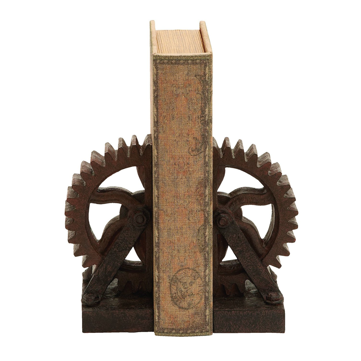 Industrial Gear Bookends Rustic Antique Steampunk Chic Decor Set of 2