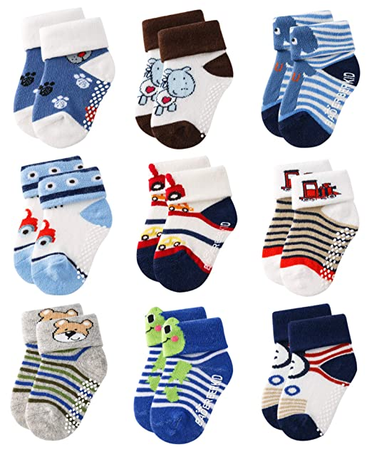 dac2c51cd1d34 Growth Pal 9 Pack Non Skid Anti Slip Baby Socks with Grips Cotton Socks for  Walking Toddlers Boys & Girls 0-36 Months