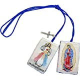 Angelitos de Mexico Divine Mercy Scapular with Cross Charm Escapulario Del Señor de la Misericordia con