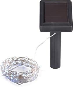Solar Powered String Lights, 100 LED Copper Wire Lights, Waterproof Starry String Lights, Indoor/Outdoor Solar Decoration Lights For Gardens, Patios, Homes, Parties: 20 ft, Platinum