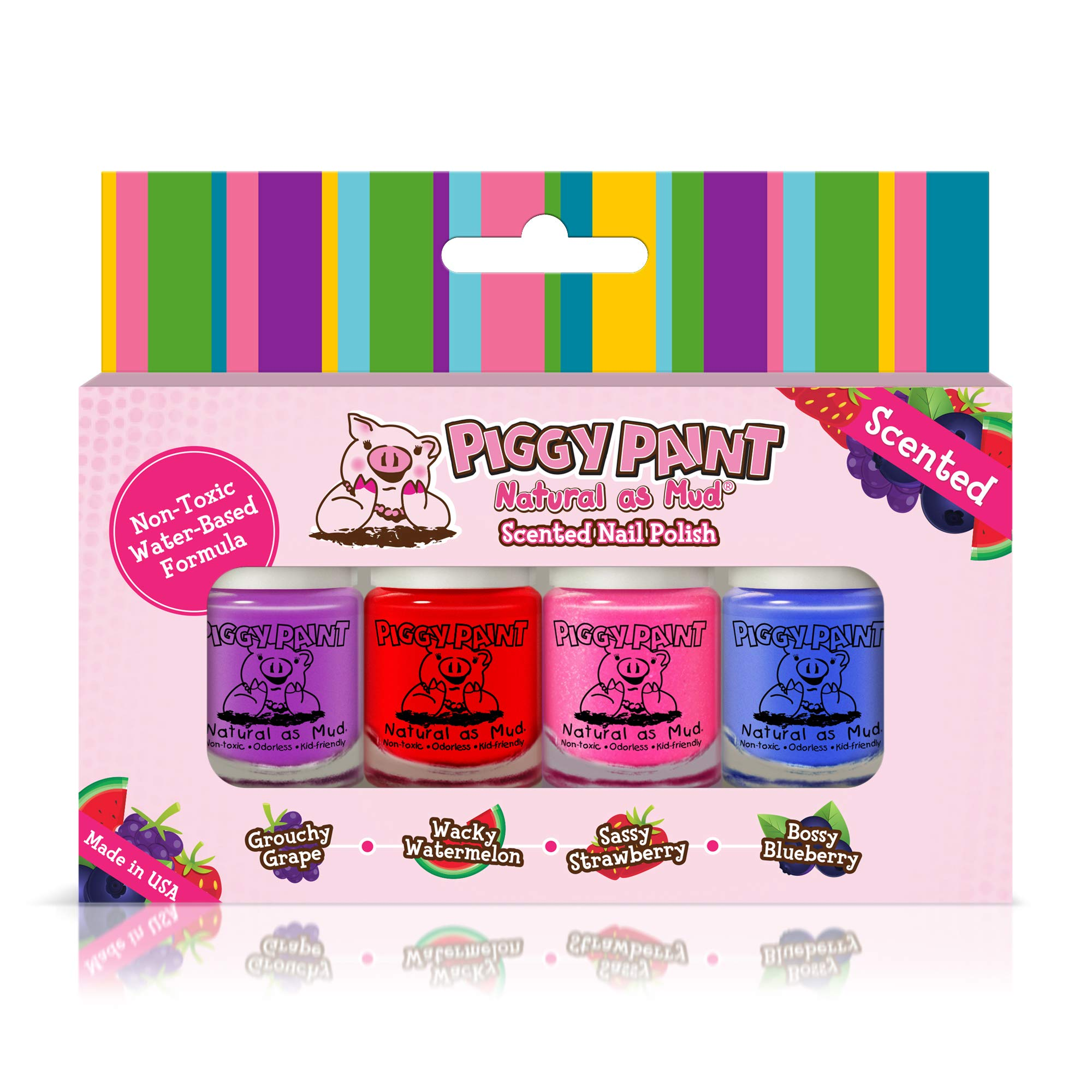 Piggy Paint - 100% Non-toxic Girls Nail Polish, Safe, Chemical Free, Low Odor for Kids - 4 Polish Gift Set (Scented) by Piggy Paint