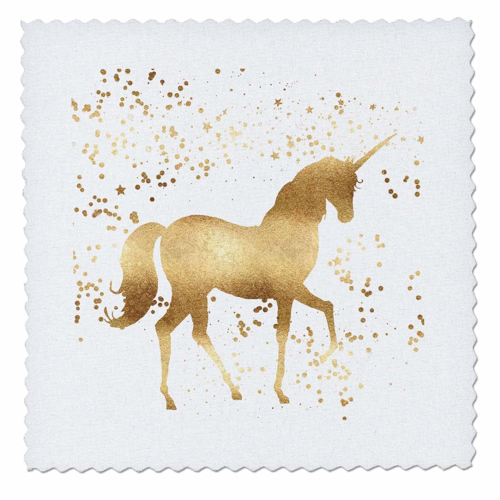 3dRose PS Animals - Image of Gold Confetti Unicorn - 18x18 inch quilt square (qs_280773_7)