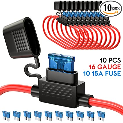 UNEEDE 10 Pack Fuse Inline Fuse Holder ATC/ATO Add-a-circuit Car Fuse on