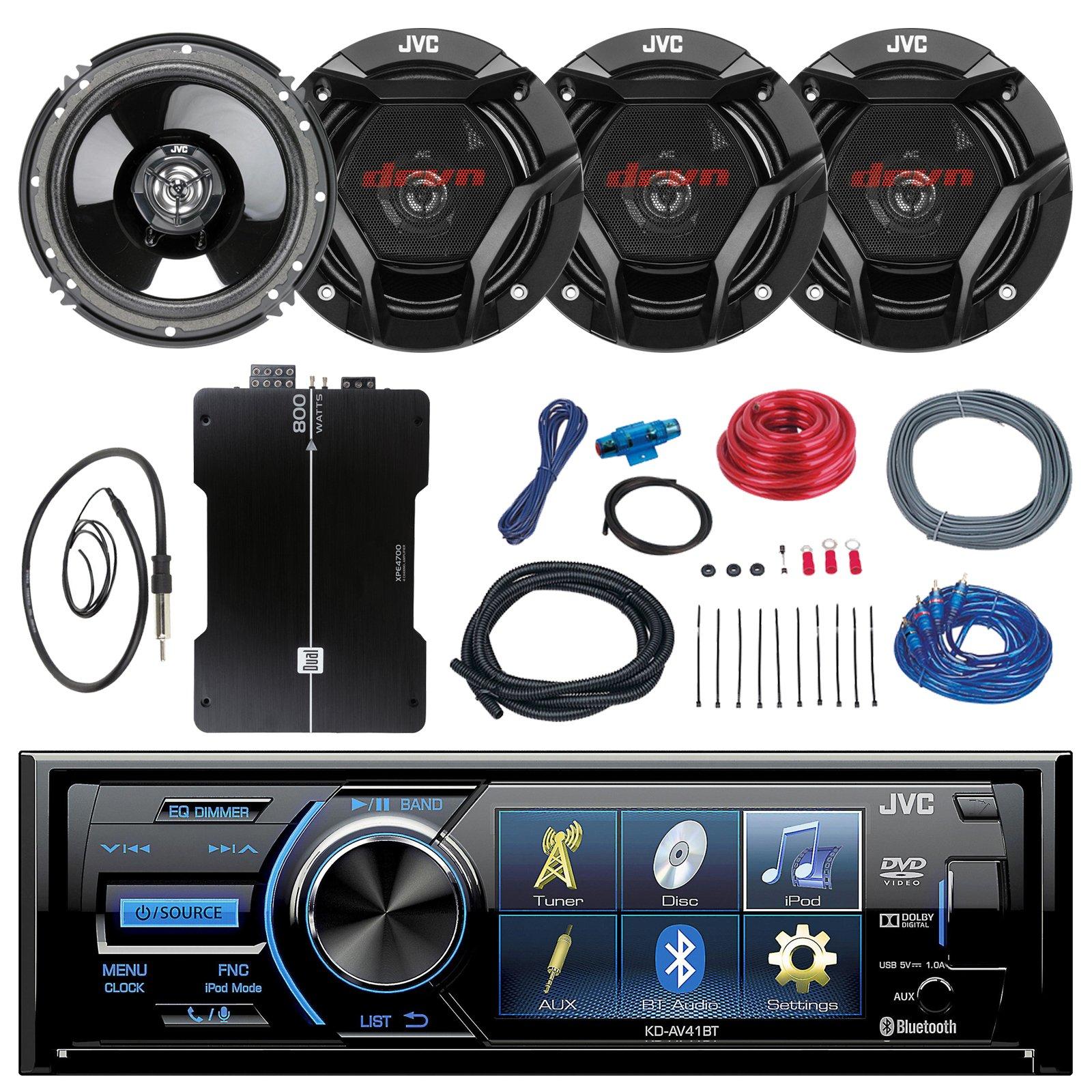 JVC KD-AV41BT 3'' Car DVD Bluetooth Stereo Receiver Bundle Combo With 4x 6.5'' 300 Watt 2-Way Coaxial Speakers + 800-Watt 4-Channel Amplifier With Installation Kit, Enrock 22'' AM/FM Radio Antenna by EnrockAudioBundle