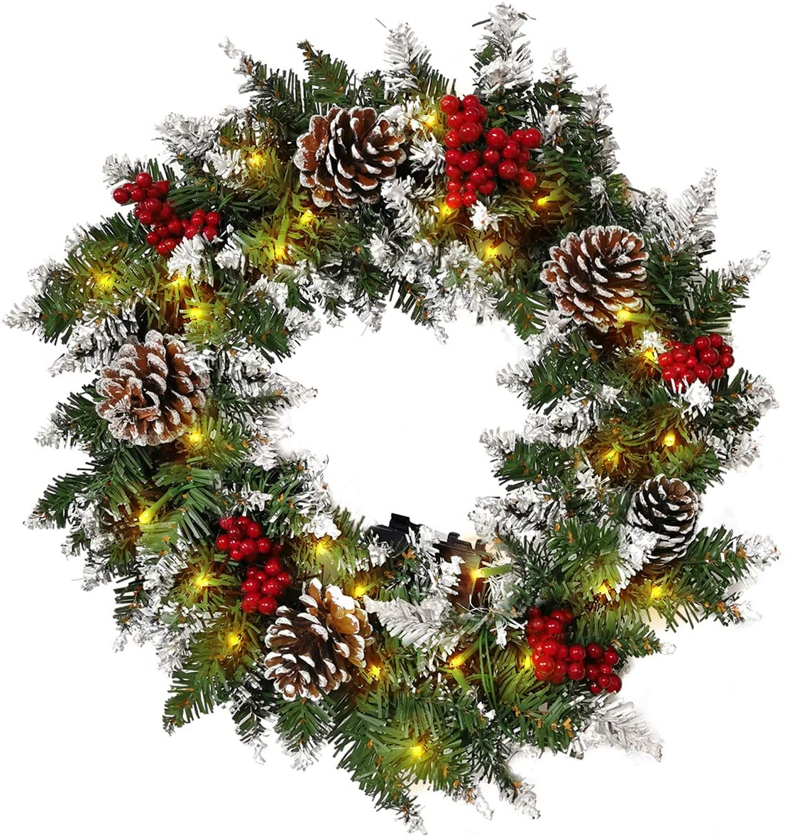 24 Inch Wintry Pine Wreath with Cones, Winter Snowflake Christmas Wreath for Front Door Foyers Shop Windows Fireplaces Walls New Years Decor …