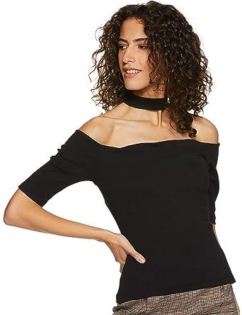 65fc352a9 Miss Chase Women's Black Short Sleeve Choker Style Bardot Tops at Amazon Women's  Clothing store: