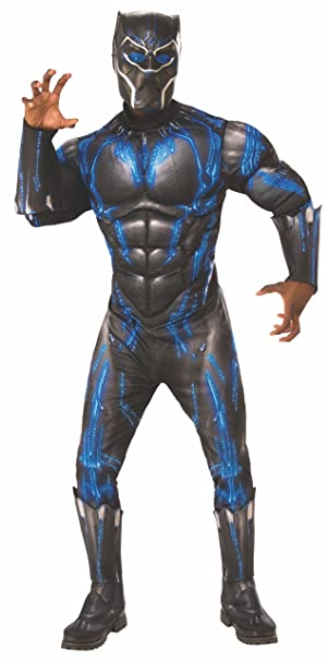 7f754fa0 Rubie's Men's Deluxe Black Panther Muscle Chest Battle Suit Costume, As As  Shown, Extra