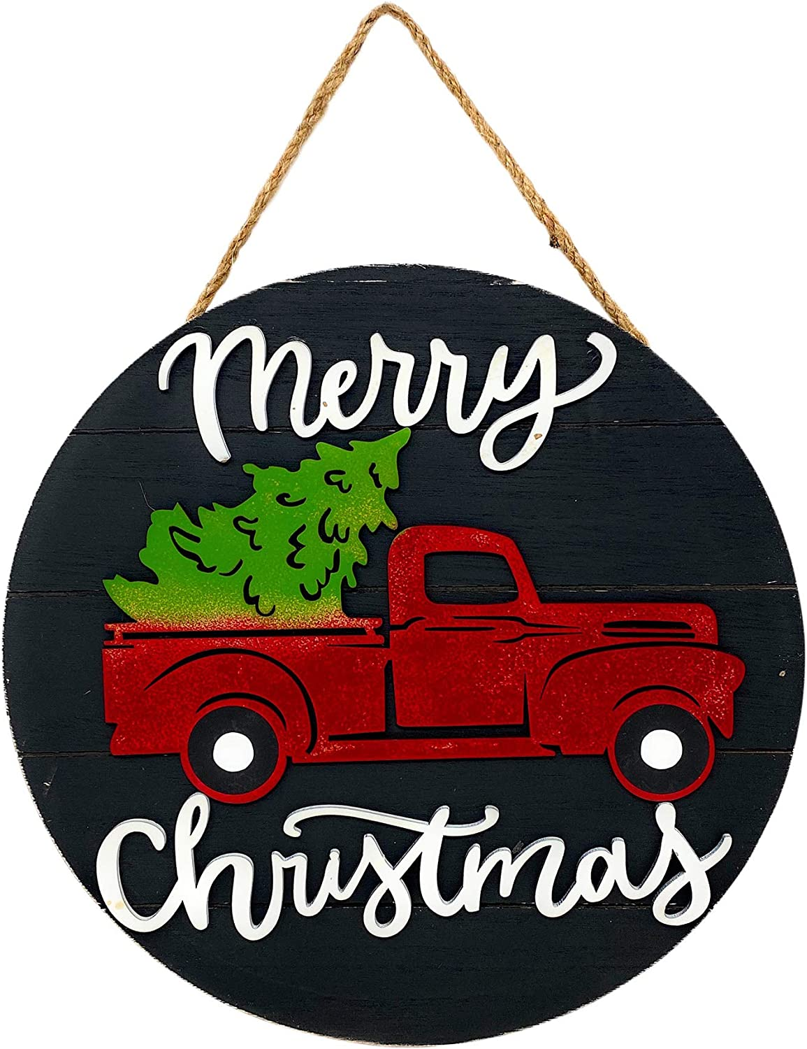 "STC World Merry Christmas Wooden Sign Holiday New Year Decoration Indoor Outdoor Vintage Red Truck 12"" Round (Black)"