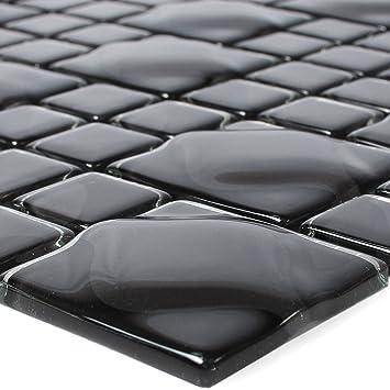 Glasmosaik Fliesen Nokta Schwarz Grau 3D | Wandfliesen | Mosaik ...