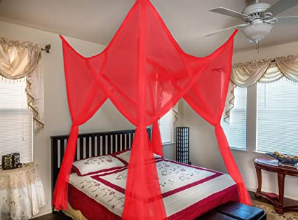 octorose vivid red 4 poster bed canopy functional mosquito net full queen king